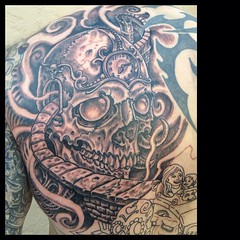 Day 2 #skulltattoo #pooch_art @infinite_irons @fusionink_ca