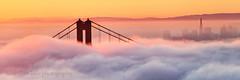 Cotton Candy Sunrise at the Golden Gate Bridge (Andrew Louie Photography) Tags: sf california bridge pink blue coffee fog sunrise canon photography golden bay october gate san francisco cityscape candy dynamic pano smooth jazz andrew panoramic story telephoto cotton mango area passion louie drama epic 2014