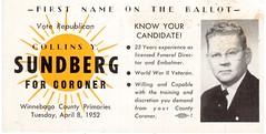 1952 Coroners Race (booboo_babies) Tags: blackwhite illinois politics advertisement 1950s republican primary rockford coroner