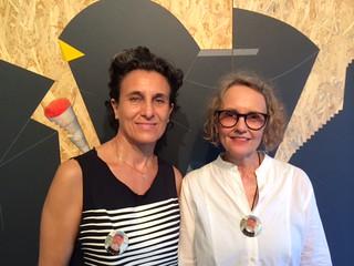 Hostess art dealer Carol Jazzar with dearest Barbara Young