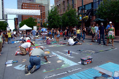 """Many chalk art works-in-progress on the street • <a style=""""font-size:0.8em;"""" href=""""http://www.flickr.com/photos/34843984@N07/15541799191/"""" target=""""_blank"""">View on Flickr</a>"""