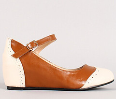 "two tone mary jane oxford wedge 100 tan white • <a style=""font-size:0.8em;"" href=""http://www.flickr.com/photos/64360322@N06/15559025785/"" target=""_blank"">View on Flickr</a>"