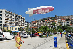 Greece, Macedonia, Kavala, girl in yellow, & an advertising blimp at the harborfront (Macedonia Travel & News) Tags: macedonia ancient culture vergina sun thasos island kavala philippi orthodox republic nato eu fifa uefa un fiba aegeanmacedonia greecemacedonia macedonianstar verginasun aegeansea macedoniapeople macedonians peopleofmacedonia macedonianpeople mavrovo macedoniablog bayofbones 25126328 macedoniagreece makedonia timeless macedonian macédoine mazedonien μακεδονια македонија travel prilep tetovo bitola kumanovo veles gostivar strumica stip struga negotino kavadarsi gevgelija skopje debar matka ohrid heraclea lyncestis macedoniatimeless