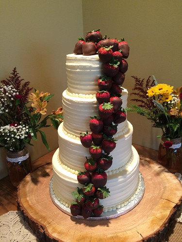 Cascading Chocolate Covered Strawberries Wedding Cake A Photo On