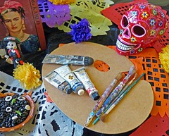 Day of the Dead tribute to Frieda Kahlo (sharon'soutlook) Tags: colors dayofthedead paint altar brushes diadelosmuertos tribute 2014 cincinnatimuseumcenter friedakahlo paintedskull latinamericanculturefest
