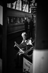 (FriendFisherman) Tags: people bw white black station blackwhite nikon df f14 candid bahnhof scene sw 58mm schwarz weis schwarzweis nikondf