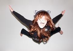 Wheee! (Danielle Bednarczyk) Tags: portrait selfportrait halloween girl fun jump flash redhead falling sweatshirt bounce selfie daniellebednarczyk