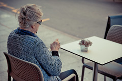 Lonely old woman having a coffee [Explored] (_Franck Michel_) Tags: old woman coffee bar table cafe chair empty femme explorer explore lonely chaise vieille vide seul explored
