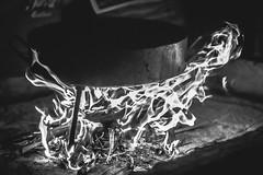 Freezing Fire (emiliokuffer) Tags: camping camp blackandwhite food white black blancoynegro blanco disco fire smoke negro freeze campo fuego humo