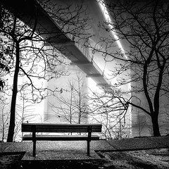 Fade to White (Sky Noir) Tags: bridge blackandwhite bw white bench fade skynoir