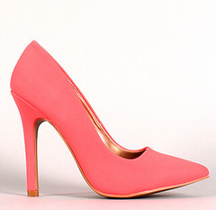 "neon nubuck pointy toe pump 100 neon coral • <a style=""font-size:0.8em;"" href=""http://www.flickr.com/photos/64360322@N06/15725784001/"" target=""_blank"">View on Flickr</a>"