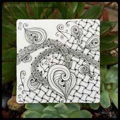 """Zentangle® Inspired Art : Weekly Challenge #193 TriTangle Trio, Huggins, Xyp : """"Spreading Gratitude"""" (ha! designs) Tags: blackandwhite abstract art illustration pen pencil tile pattern drawing doodle trio tangle graphite huggins 2014 weeklychallenge zentangle xyp hadesigns hadesignszentangle divasweeklychallenge"""