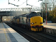 DRS Class 37's 37218 and 37611 make themselves heard at Stafford (Oz_97) Tags: thrash stafford drs class37 directrailservices