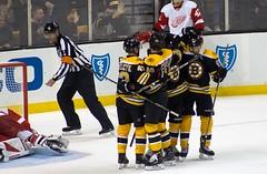 #61 Austin Czarnik scores, 4-1 Detroit (Odie M) Tags: nhl hockey icehockey boston tdgarden preseason teamsport sport ice goal scores celebration hug bostonbruins detroitredwings austinczarnik colinmiller ryanspooner jaredcoreau martinfrk