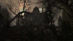 Watcher (alexandriabrangwin) Tags: alexandriabrangwin secondlife 3d cgi computer graphics virtual world photography dark halloween sim old scary house woods mansion cloaked figure dead trees horror theme lamp lantern mood amibiance hooded creepy abandoned arranmore