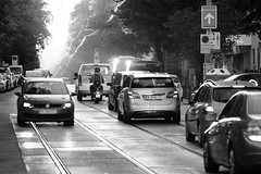 It was a really big spider..! ;-) (PIXXELGAMES - Robert Krenker) Tags: spider vienna traffic street streetstyle blacknwhite blackandwhite schwarzweiss fujifilm fujinon cars sun light monochrome