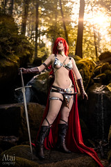 Red Sonja (azproduction) Tags: anime cosplay fotocon fotocon2016 game girl redhair redcape red redsonja barbarian sword forest bikini