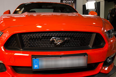 Ford Mustang (Majorimi) Tags: canon eos 70d digital color colorful nice hungary exhibition fair photo red fun ford mustang new orange metal light car hood tire lamp eye horse power super muscle