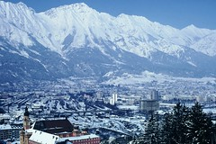 View of Innsbruck and the Alps as seen from 1964 Olympic Ski Jump, Innsbruck Austria (Joseph Hollick) Tags: innsbruck austria winter snow snowcovered 35mmfilm 35mm mountain mountainpeaks