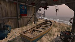 old boat house (mistdog) Tags: secondlife baja cove norte boat boathouse decay beach jag