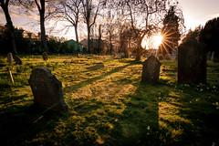 Graveyard in Cambridge (Aresio) Tags: cambridge graveyard sunset uk sunstar tumb shadows