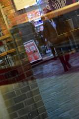 A Thursday afternoon, Chelsea, London, 2016 (MJ_Conlon) Tags: london uk england city street shop cafe window reflection reflections man brick wall suit