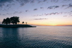 Daybreak (christine.gleason) Tags: sunrise chicago island lake michigan harbor belmont explore urban exploration fuji fujifilm silohuette cloud blue purple yellow warmth