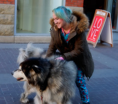 Playing With The Dog (Sherlock77 (James)) Tags: calgary downtown stephenavenue streetportrait people woman dog