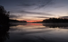 'They say it's your birthday ... ' (Canadapt) Tags: lake sunrise shoreline reflection clouds trees island silhouette keefer canadapt