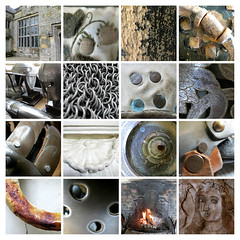 Trerice (Carolyn Saxby) Tags: trericehouse kestle newquay cornwall nationaltrust vintage armour chainmail openfireplace plaster embroidery tapestry furnishings interiors rust lichen lead windows mosaic squares grids carolynsaxby
