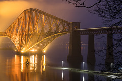 Bridge in the Blue Hour (Tom_Drysdale) Tags: december commuter southqueensferry morning bridge river mist train fuji xt2 fog 2016 estuary fujifilm forth