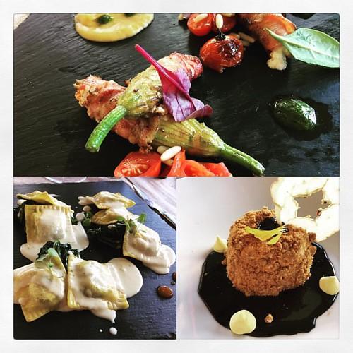 Un grosso problema di castelli romani #fiordiizucca #ricotta #pancetta #ravioli #agnello #timo #fonduta #parmigiano #broccoletti #cheesecake #cioccolato