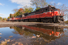Reflections from the Diamond (sullivan1985) Tags: connecticut providenceandworcester providenceworcester pw ct train railroad railway ge generalelectric b398e b237 middletown diamond ct1 pw3901 pw2201 pw3905 reflection freight freighttrain local water locomotive locomotives