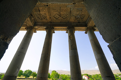 View through the ancient pillars, Garni