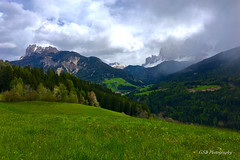 Dolomites Landscape, Italy (GSB Photography) Tags: italy dolomites ringspitz tullen peitlerkofelgruppe mountains peaks forest mountain range greaterdolomitesroad valley serene serenity trees clouds iphone