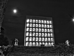 Colosseo Quadrato_HDR BW AS (al.scuderi71) Tags: moon colosseo coliseum eur roma rome supermoon superluna luna black white night astrophoto notte fullmoon lunapiena