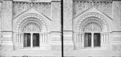 Close-up of doorway of large, cruciform, modern romanesque church (is Sligo Cathedral) (National Library of Ireland on The Commons) Tags: thestereopairsphotographcollection lawrencecollection stereographicnegatives jamessimonton frederickhollandmares johnfortunelawrence williammervynlawrence nationallibraryofireland romanesquedoubledoor church catholicchurch cobblestones locationidentified sligocathedral sligo cathedral cathedraloftheimmaculateconception templestreet portico tympanum relief mirrorview highrelief flipped