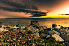 Convergence ( ) Tags: landscape seascape vista sunset goldenhour water rocks ocean sea beach red yellow sky cloud wideangle amber