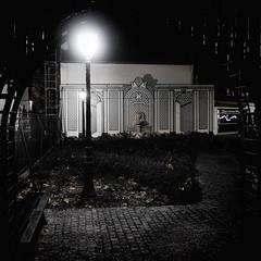 Dans le cercle du rve (godran25) Tags: nuit rve noir cauchemar lampadaire espalier lion pavs banc feuilles cercle