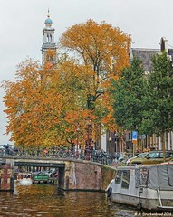 Prinsengracht Canal with Westerkerk in background, Amsterdam (PhotosToArtByMike) Tags: westerkerk amsterdam netherlands westernchurch dutch prinsengrachtcanal holland belltower