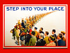 Step Into Your Place (Steve Taylor (Photography)) Tags: greatbritain worldwari army volunteer wartime poster recruitment 1915 column soldiers marching men civilian armedforces stepintoyourplace rifle cap pickaxe wig bowler hat pitchfork workers art uk gb unitedkingdom