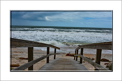To Atlantic Beach. (prendergasttony) Tags: elements sea sand nature outdoors sky clouds pier nikon d7200 florida usa america states weather storm lines tide ocean atlantic earth blue water horizon rail board vacation holiday