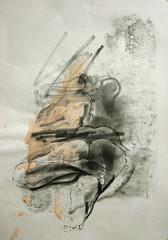 auf dem Bauch liegende, von den Fuen aus (Alemwa) Tags: alemwa berlin kreuzberg zeichnung zeichnen sketching skectch akt aktzeichnung nude lifedrawing zeichnennachmodell woman frau portrait