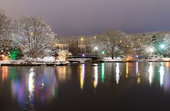 Bowring Park (Karen_Chappell) Tags: park night newfoundland stjohns bowringpark christmas holiday lights reflection pond water longexposure nfld avalonpeninsula canada atlanticcanada colourful colours trees snow winter january scenery scenic landscape nature