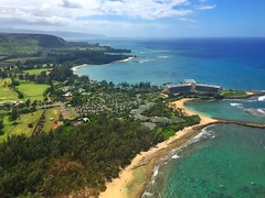 Hawaii - Turtle Bay (Julie A1) Tags: turtle bay hawaii sea blue helicopter view sky hotel resort seascape sand beach awesome clouds