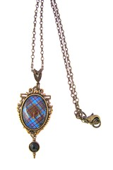 CUSTOM ORDER FOR DIANE Ancient Romance Series - Scottish Tartans Collection - Anderson Clan Tartan 18x25mm Ornate Filigree Necklace with Sgian Dubh Charm