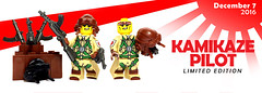 Pearl Harbor Day - Kamikaze Pilot (BrickWarriors - Ryan) Tags: brickwarriors custom lego minifigure weapons helmets armor smg gun kamikaze pilot pistol japanese japan pearl harbor day military ww2 world war