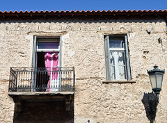 Old and Pink (Elisabeth Arvaniti) Tags: greece delphi old vintage house lamp wall windows pink curtain ancient city δελφοί φωκίδα fokida