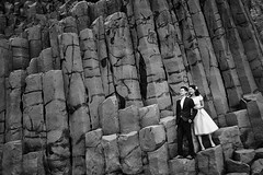Ben & Man Ling (LalliSig) Tags: pre wedding photographer iceland landscape people portrait portraiture black white gray basalt columns stuðlaberg