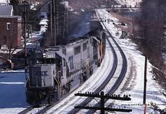 CSX 8708, Garrett, PA. 1-31-1989 (jackdk) Tags: railroad train garrett bo keystone csx emd csxt sd60 sd50 garrettpa emdsd60 emdsd50 keystonesub